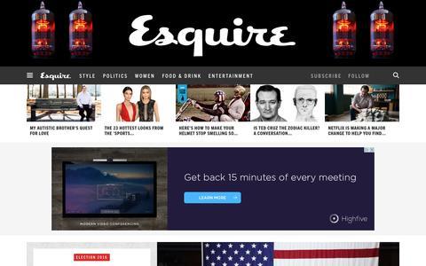 Screenshot of Home Page esquire.com - Esquire - Men's Fashion, Cocktails, Politics, Interviews, and Women - captured Feb. 22, 2016