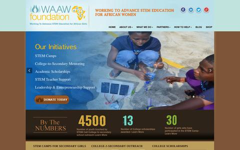 Screenshot of Home Page waawfoundation.org - http://www.waawfoundation.org/ - captured Oct. 7, 2014