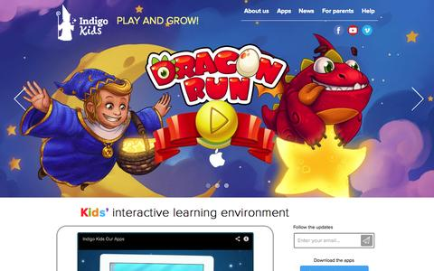 Screenshot of Home Page indigo-app.com - Indigo Kids - captured Oct. 6, 2014