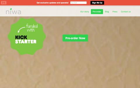 Screenshot of Home Page getniwa.com - Niwa: Grow the freshest food on Earth right from your smartphone! - captured Sept. 19, 2014