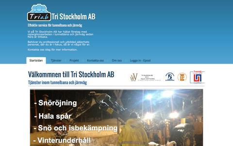 Screenshot of Home Page tri-ab.se - Startsidan - Tunnelbana och järnväg service - Tri Stockholm AB - captured March 24, 2016