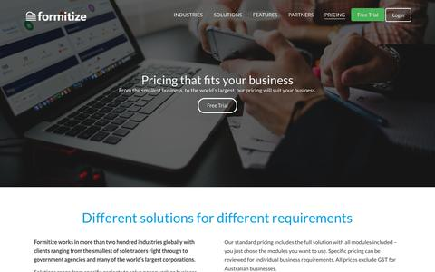 Screenshot of Pricing Page formitize.com.au - Pricing - Formitize - captured May 8, 2019
