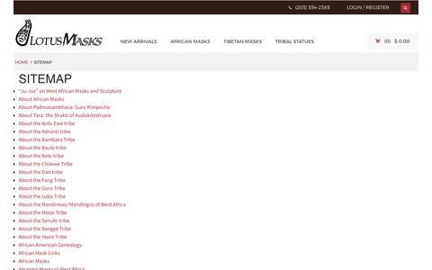 Screenshot of Site Map Page lotusmasks.com - Sitemap - Lotus Masks - captured May 23, 2017