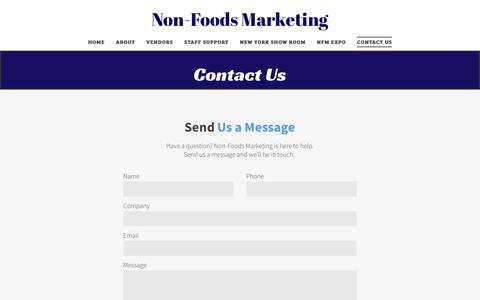 Screenshot of Contact Page nonfoodsmarketing.com - Non-Foods Marketing - captured Sept. 20, 2018
