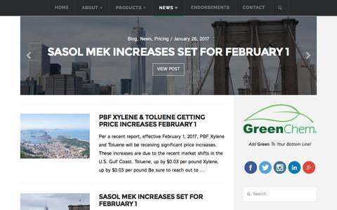 Screenshot of Press Page greenchemindustries.com - News - GreenChem Industries - captured Jan. 27, 2017