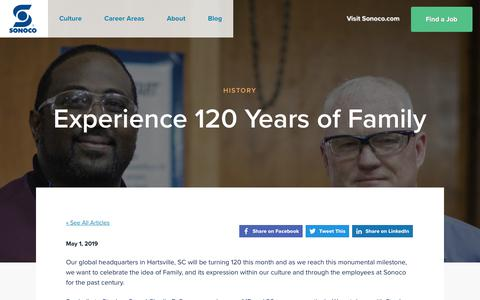 Screenshot of Jobs Page sonoco.com - Experience 120 Years of Family | Sonoco Careers - captured Nov. 5, 2019