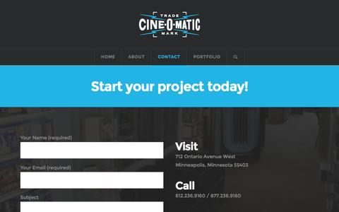 Screenshot of Contact Page cineomatic.com - Contact Cine-O-Matic and start your project today! - captured Nov. 6, 2016