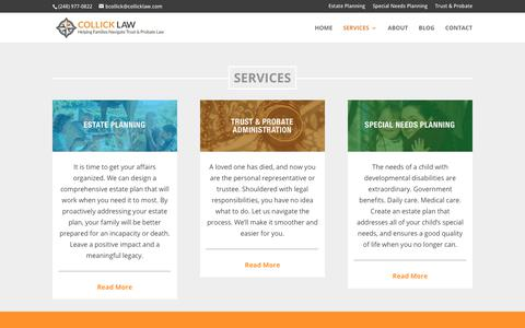 Screenshot of Services Page collicklaw.com - Services | Collick Law Firm - captured Sept. 28, 2018