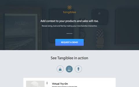 Screenshot of Home Page tangiblee.com - Visual Try Out for Handbags, Wallets, and Accessories | Tangiblee - captured Jan. 23, 2015