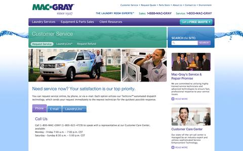 Screenshot of Support Page macgray.com - Mac-Gray's Top Priority is Customer Service and Satisfaction - captured Oct. 4, 2014