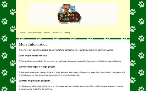 Screenshot of FAQ Page nomorelonelypets.co.uk - No More Lonely Pets offer cat sitting, dog walking and general pet sitting in Hampshire and Surrey, within 10 miles of Upper Froyle - captured Sept. 20, 2018