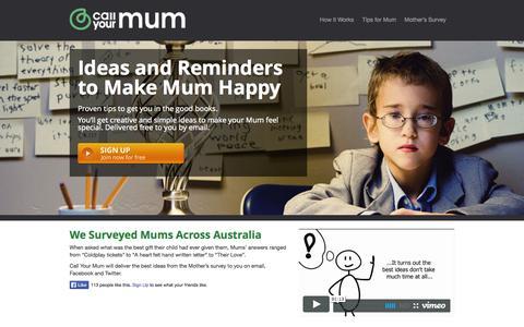 Screenshot of Home Page callyourmum.com.au - Call Your Mum - Reminders, Ideas, Ways to Make Mum Happy | Call Your Mum - captured Sept. 27, 2014
