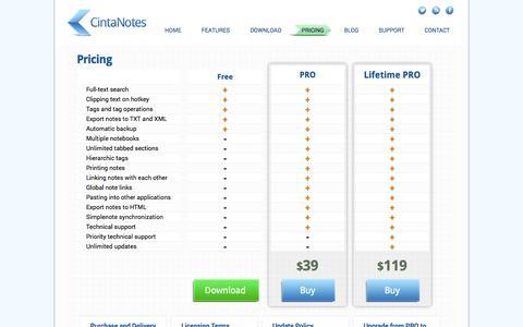 Screenshot of Pricing Page cintanotes.com - CintaNotes - Note Taking Software  |  Pricing - captured Nov. 4, 2014
