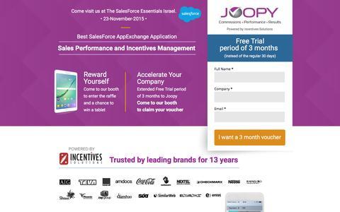 Screenshot of Landing Page joopy.com captured April 25, 2016