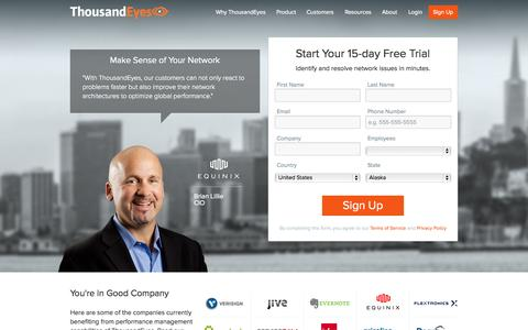 Screenshot of Signup Page thousandeyes.com - 15-day Free Trial - ThousandEyes - captured Sept. 17, 2014