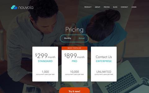 Screenshot of Pricing Page nouvola.com - Pricing - Nouvola - captured Nov. 23, 2015
