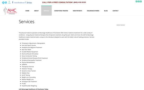 Screenshot of Services Page ahcwellnesscenter.com - Holistic Healing Services | Advantage Healthcare of Charleston | Advantage Healthcare of Charleston - captured Nov. 2, 2014