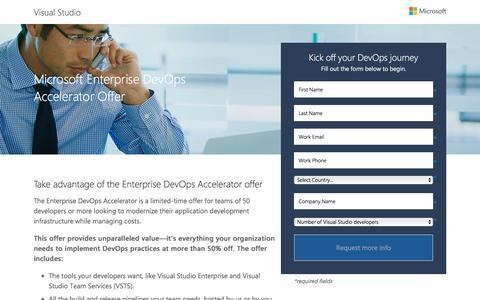 Screenshot of Landing Page microsoft.com - Microsoft Enterprise DevOps Accelerator Offer | Microsoft - captured March 15, 2017