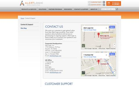 Screenshot of Contact Page alertlogic.com - Contact & Support | Alert Logic - captured Sept. 13, 2014