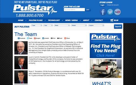 Screenshot of Team Page pulstar.com - Pulstar : Bigger Spark | More Power | Longer Life - captured Nov. 5, 2014