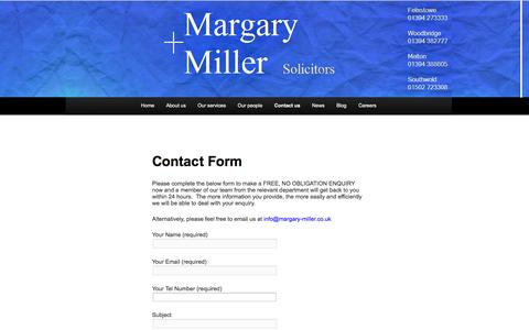 Screenshot of Contact Page margary-miller.co.uk - Contact Form - Margary + MillerMargary + Miller - captured Oct. 27, 2014
