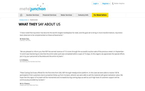 Screenshot of Testimonials Page metaljunction.com - Contact Us for queries for any queries and solutions contact us - captured Oct. 30, 2014