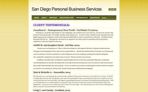 Screenshot of Testimonials Page sdpersonalservices.com - TESTIMONIALS - San Diego Personal Business Services - captured Feb. 4, 2016