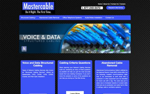 Screenshot of Home Page mastercable.co - Mastercable LLC Strucured Cabling Contractors and Installers. - captured Nov. 3, 2018