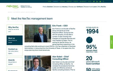 Screenshot of Team Page nextecgroup.com - NexTec Group Management Team - captured Nov. 8, 2017