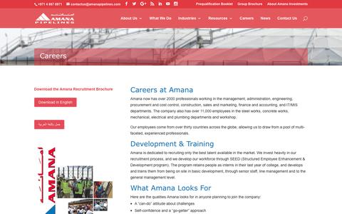 Screenshot of Jobs Page amanapipelines.com - Careers and Jobs - Amana Pipeline Construction Co. - captured Nov. 20, 2016