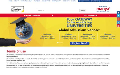Screenshot of Terms Page manyagroup.com - Terms of Use | Best GRE Classes - Manya Group - captured Oct. 6, 2017