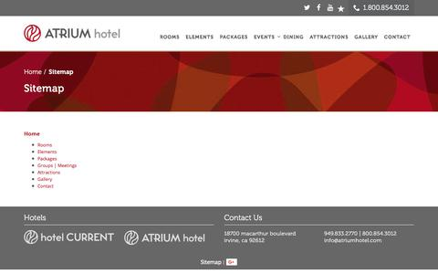Screenshot of Site Map Page atriumhotel.com - Sitemap - ATRIUM hotel - captured July 31, 2018
