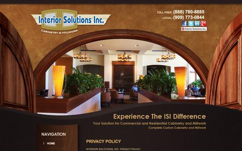 Screenshot of Privacy Page iscabinets.com - Privacy Policy | Interior Solutions Inc | Ontario, La Habra, CA - captured Oct. 6, 2014