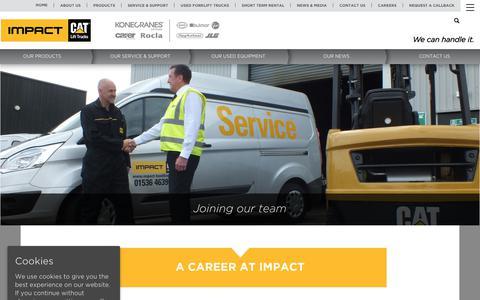 Screenshot of Jobs Page impact-handling.com - Careers - Impact Handling - captured May 24, 2019
