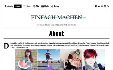 Screenshot of About Page einfach-machen.blog - About | einfach-machen.blog: Modeblog & Lifestyleblog - captured July 10, 2018