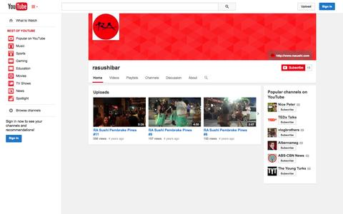 Screenshot of YouTube Page youtube.com - rasushibar  - YouTube - captured Oct. 24, 2014