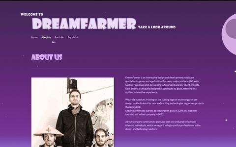 Screenshot of About Page dreamfarmer.com - About us - - captured Sept. 30, 2014