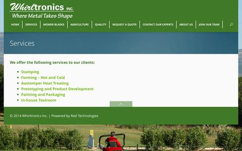 Screenshot of Services Page whirltronics.com - Metal Stamping - Austemper Heat Treatment - Metal FormingWhirltronics Inc. - captured Oct. 26, 2014