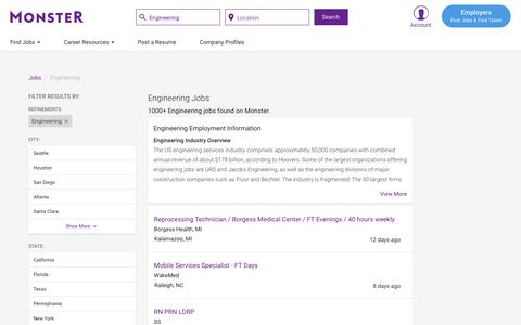 Screenshot of Jobs Page monster.com - Engineering Jobs - Search Engineering Job Listings | Monster.com - captured May 17, 2017
