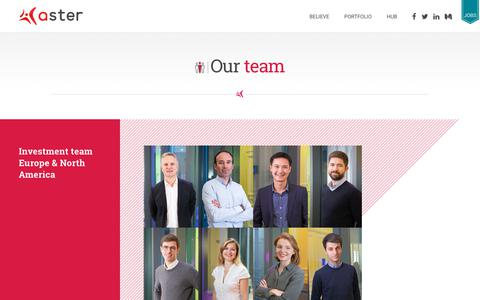 Screenshot of Team Page aster.com - Aster team - Investment team Europe & North America, Hub, Operations - captured Nov. 13, 2018