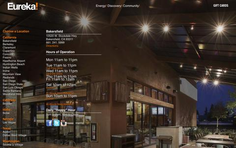 Screenshot of Locations Page eurekarestaurantgroup.com - Bakersfield - Eureka! Restaurants - captured July 22, 2018