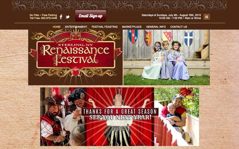 Screenshot of Home Page sterlingfestival.com - Sterling Renaissance Festival - captured Sept. 19, 2014