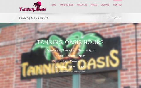 Screenshot of Hours Page tanningoasisdowntown.com - Tanning Oasis Hours - - captured Oct. 27, 2014