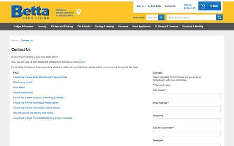 Screenshot of Contact Page betta.com.au - Contact Us - captured Oct. 30, 2014