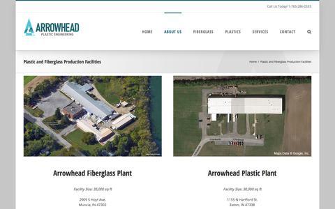 Screenshot of Locations Page arrowheadinc.com - Vacuumformed Plastic and Fiberglass Production Facilities Arrowhead - captured Oct. 8, 2017