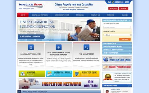 Screenshot of Home Page inspectiondepot.com - Inspection Depot Inc - Third Party Inspection and Insurance Claims Processing Administrator - captured Sept. 30, 2014