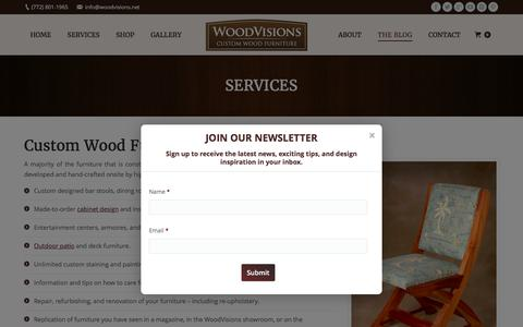 Screenshot of Services Page woodvisions.net - Custom Built Wood Furniture - Services | WoodVisions - captured Aug. 17, 2016