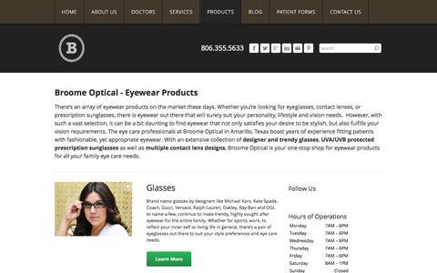 Screenshot of Products Page eyecareamarillo.com - Eye Care Amarillo - Broome Optical Eyewear: Glasses, Contacts, Sunglasses - Amarillo Eye Care - captured Oct. 5, 2014