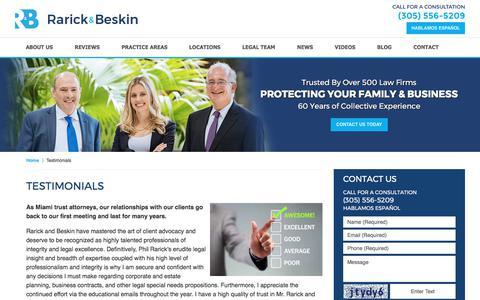 Screenshot of Testimonials Page rblawfl.com - Testimonials :: Miami Trust Attorney Rarick & Beskin - captured Oct. 19, 2017