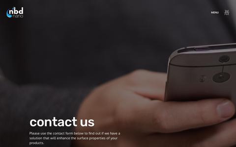 Screenshot of Contact Page nbdnano.com - Contact | NBD Nano - captured Oct. 19, 2018